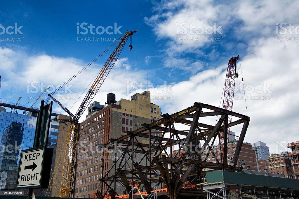 Skyscraper Building under construction, 9th Avenue, Manhattan, New York City stock photo