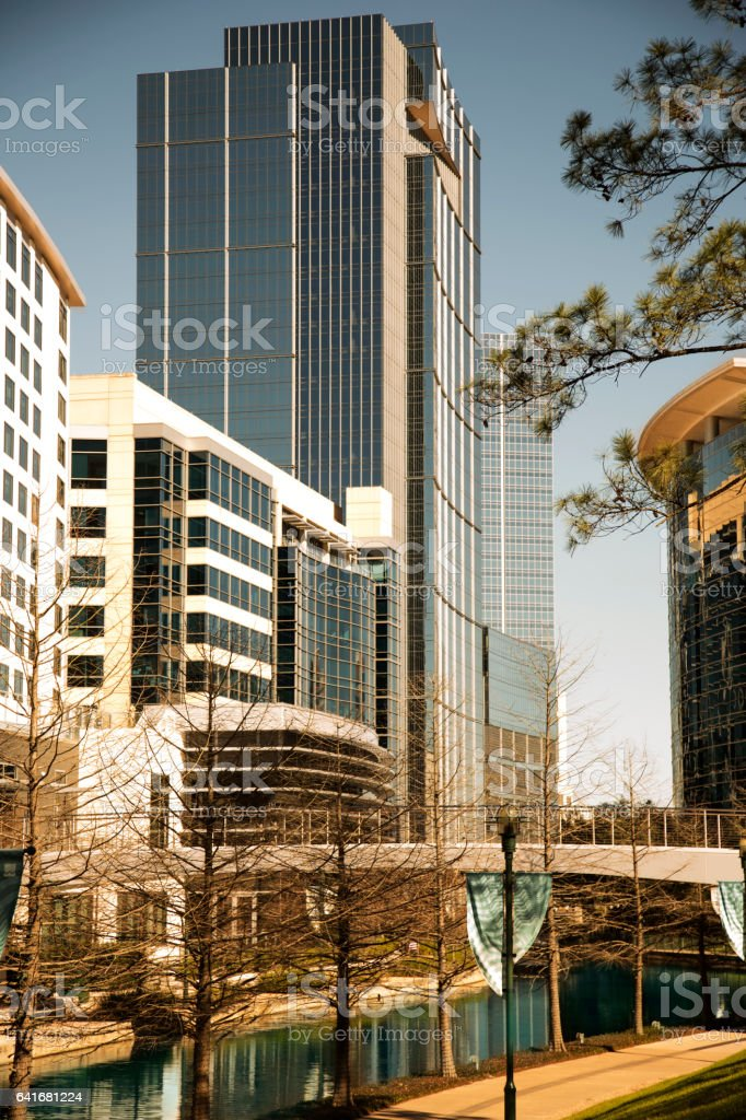 Skyscraper building, waterway in downtown Texas city. stock photo