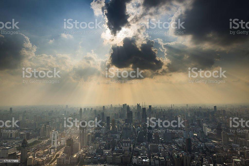 Skyscraper cityscape dramatic sunburst sunlight Shanghai China royalty-free stock photo