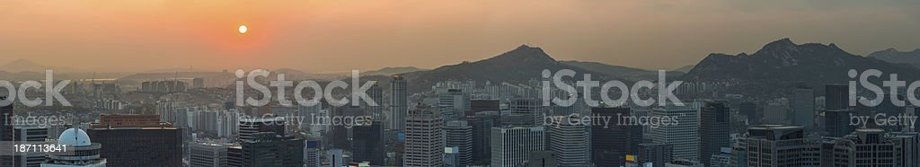 Skyscraper cityscape sunset panorama crowded downtown highrises Seoul South Korea stock photo