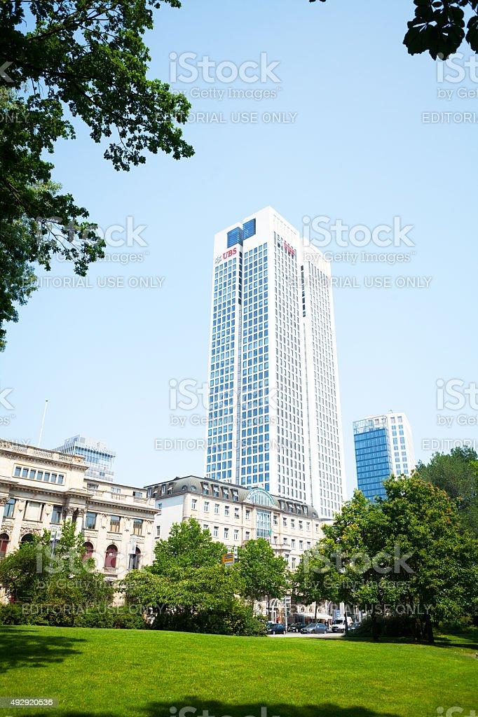 UBS skyscraper in Frankfurt stock photo