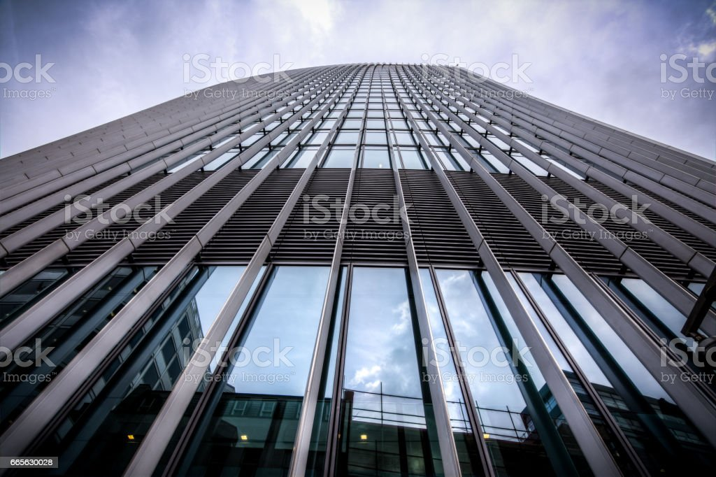 A skyscraper in London on a cloudy day stock photo