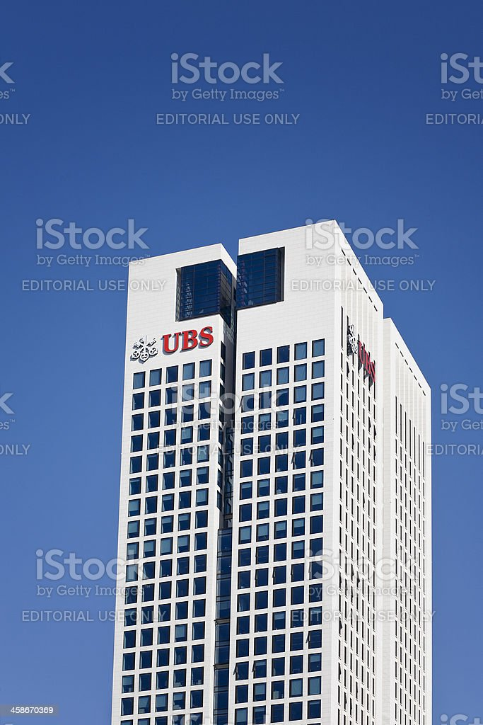 Skyscraper Opernturm and logo of UBS AG, Frankfurt stock photo