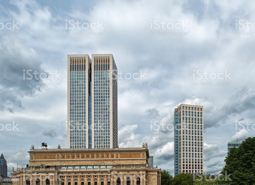 Skyscraper Opernturm, Old Opera House, Frankfurt, Germany stock photo