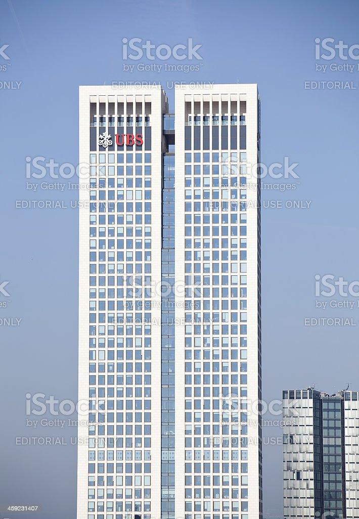 Skyscraper Opernturm with UBS logo in Frankfurt stock photo