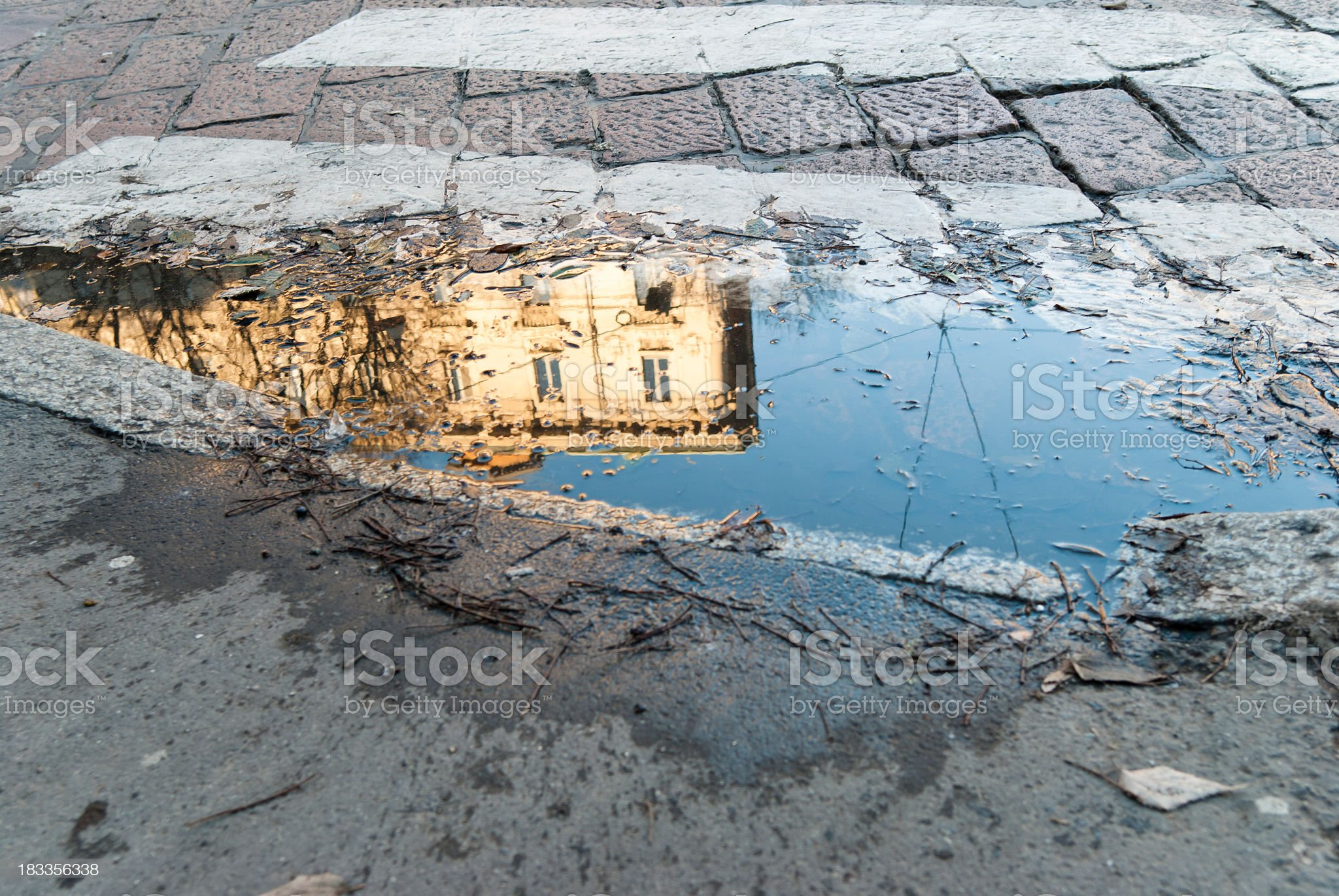 Skyscraper Reflection In A Puddle royalty-free stock photo