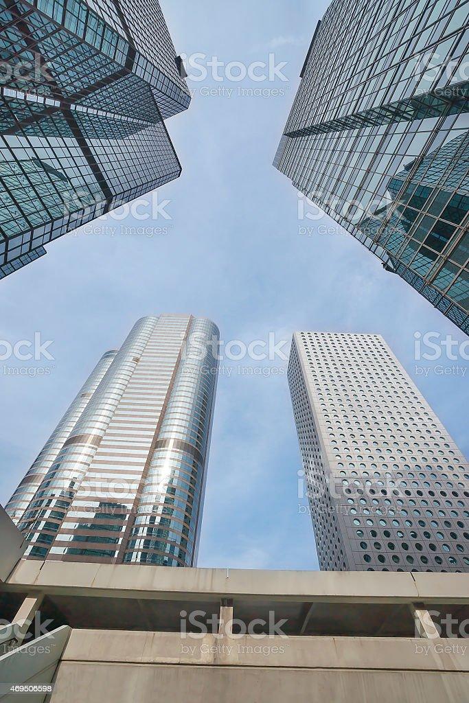 Skyscraper skywards view in central Hong Kong stock photo
