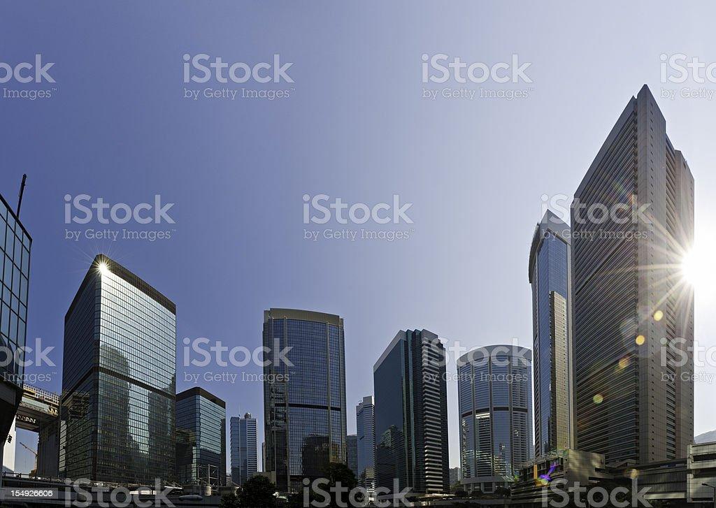 Skyscraper sunburst downtown business district glass citadels Hong Kong China royalty-free stock photo
