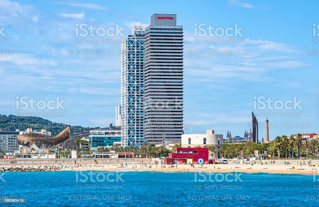 Skyscraper Torre Mapfre in Barcelona stock photo