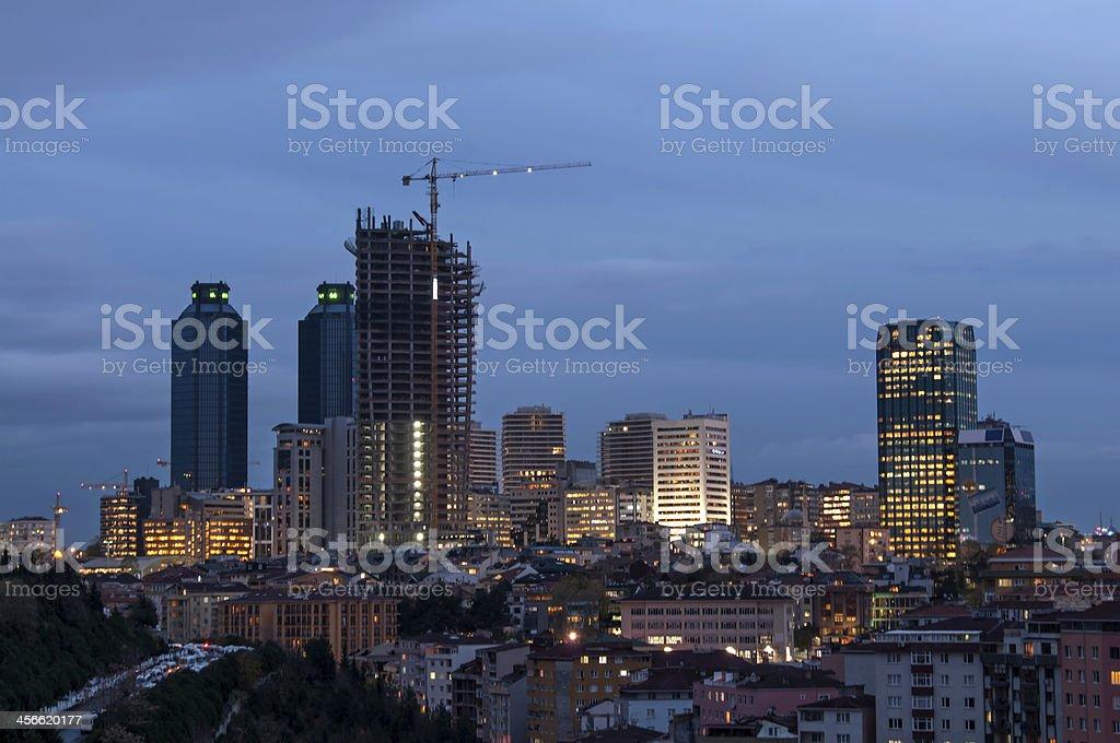 Skyscraper under construction at twilight royalty-free stock photo