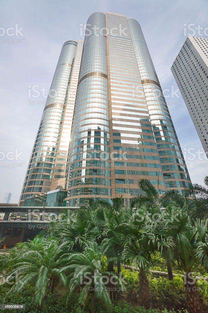 Skyscraper upward view in central Hong Kong stock photo