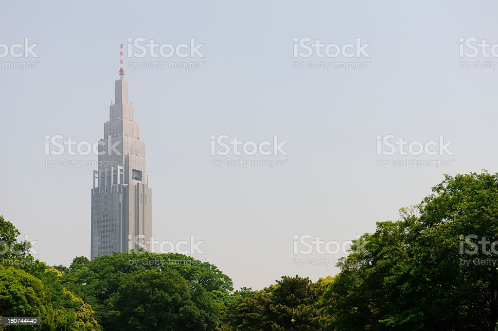 Skyscraper view from park in Tokyo royalty-free stock photo