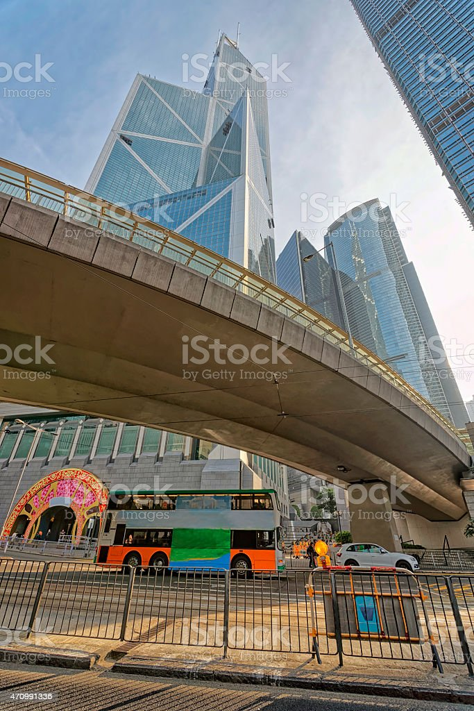 Skyscraper view in central Hong Kong stock photo