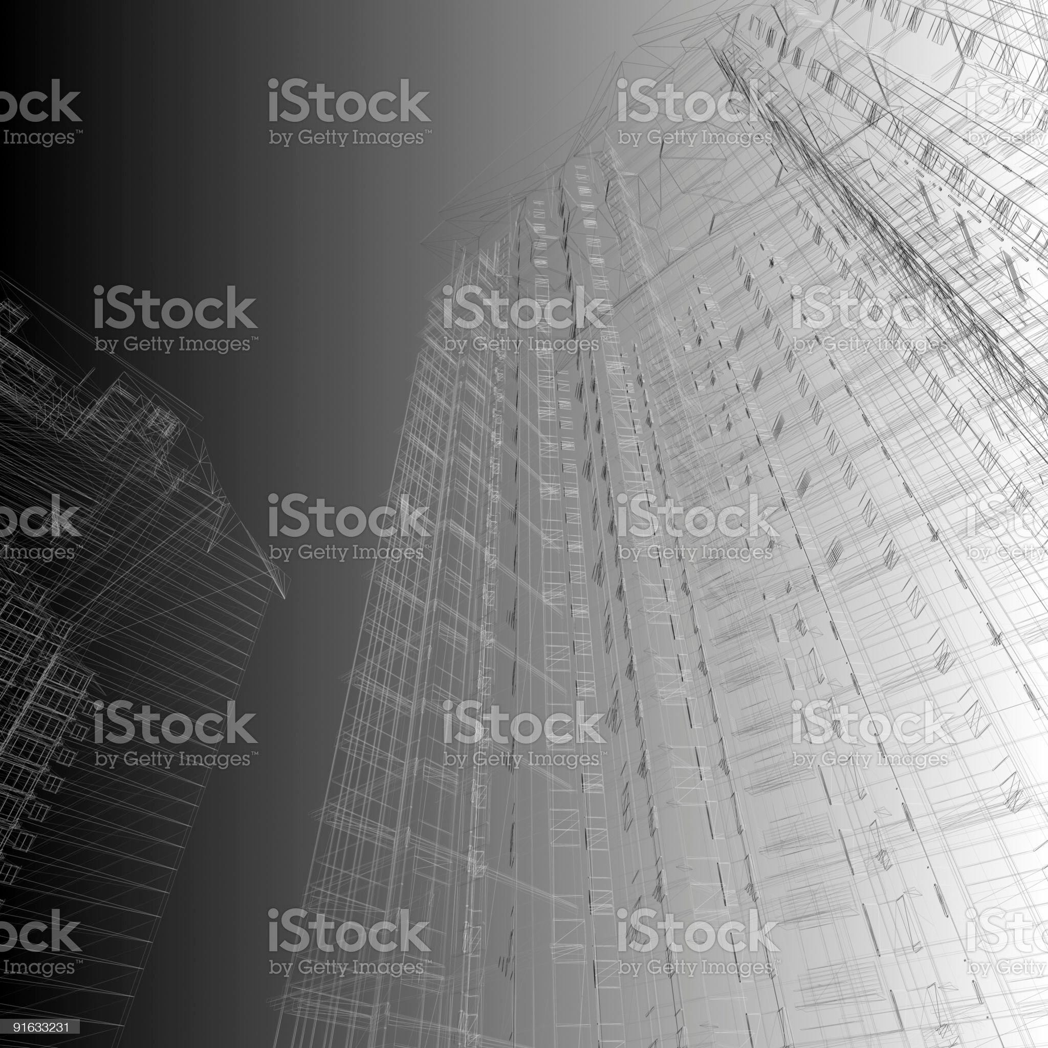 Skyscraper wireframe (on gradient background) royalty-free stock photo