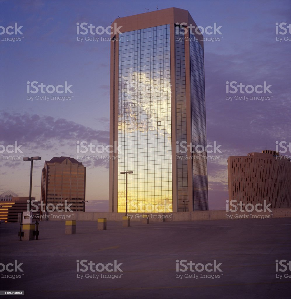 Skyscraper with clouds royalty-free stock photo