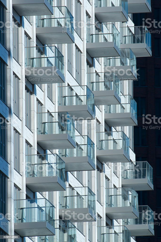 Skyscraper with many balconies stock photo