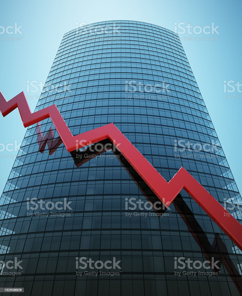 Skyscraper with red graph royalty-free stock photo
