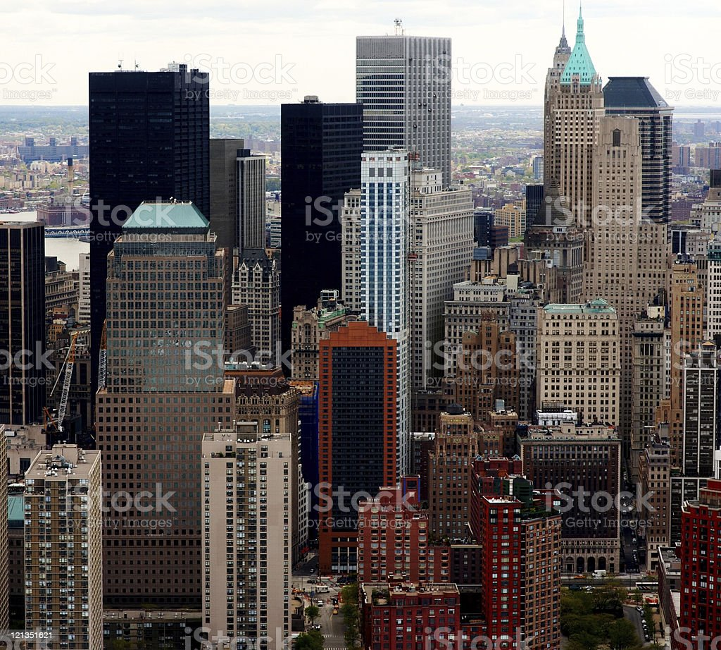 Skyscrapers - Aerial view of buildings in New York city royalty-free stock photo