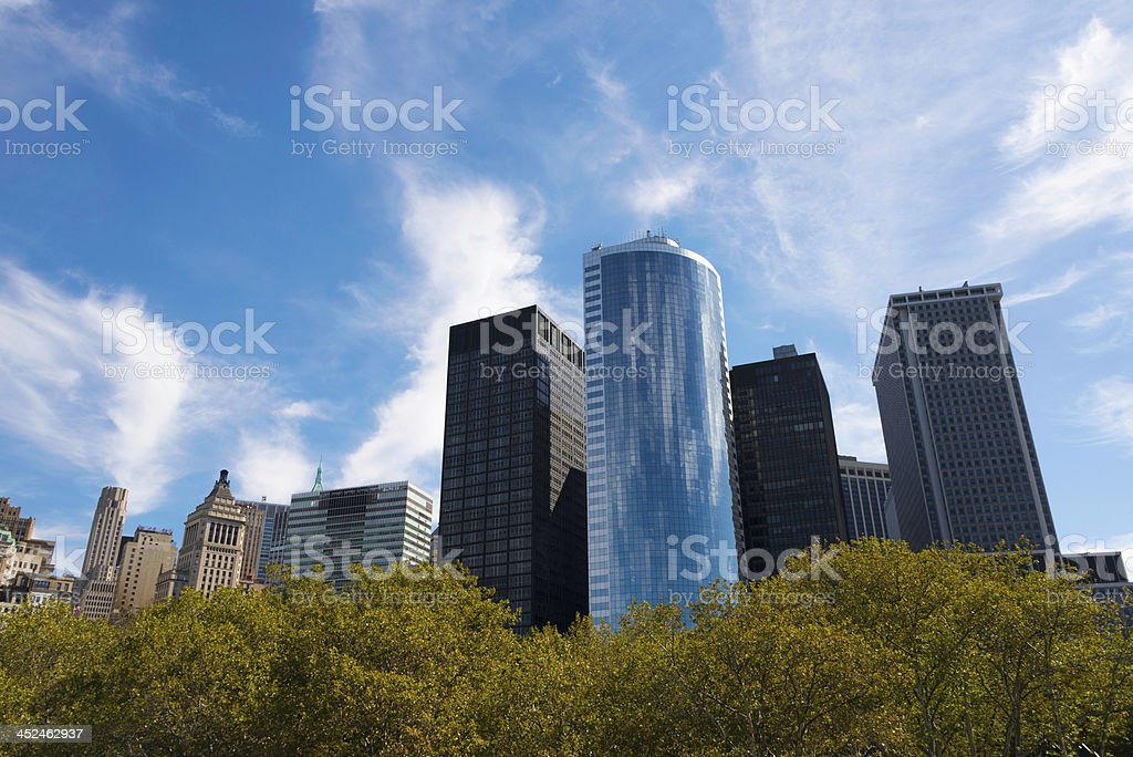 Skyscrapers and Battery Park in Lower Manhattan royalty-free stock photo