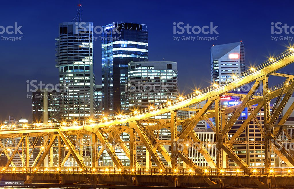Skyscrapers and city lights in Brisbane royalty-free stock photo