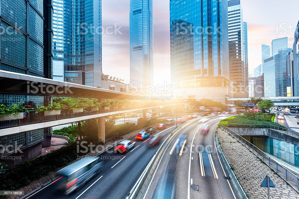 Skyscrapers and City Streets in Hong Kong stock photo