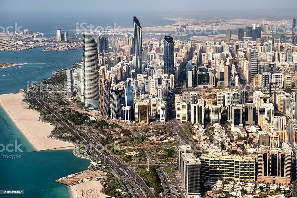 Skyscrapers and coastline in Abu Dhabi stock photo