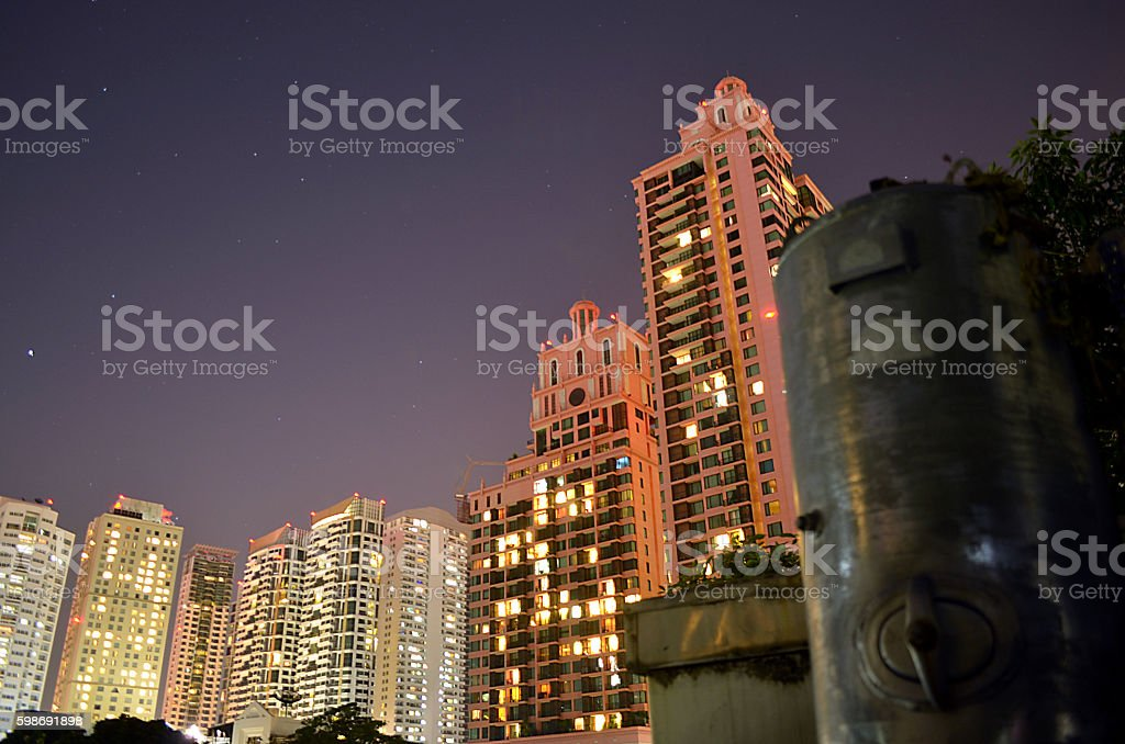 skyscrapers and night sky in city of Bangkok Thailand stock photo