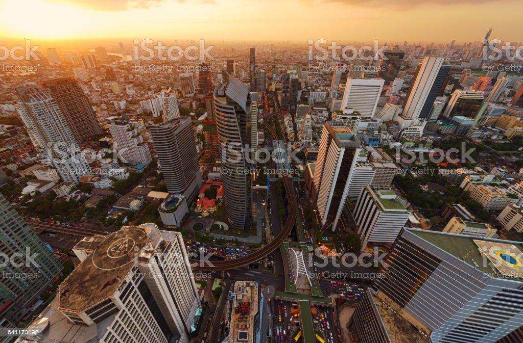 Skyscrapers and Sathorn Intersection, BTS Chong Nonsi, Bangkok, Thailand stock photo
