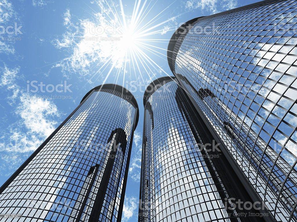 skyscrapers and sun stock photo