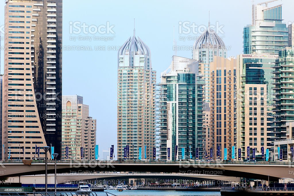 skyscrapers at Dubai Marina, United Arab Emirates royalty-free stock photo
