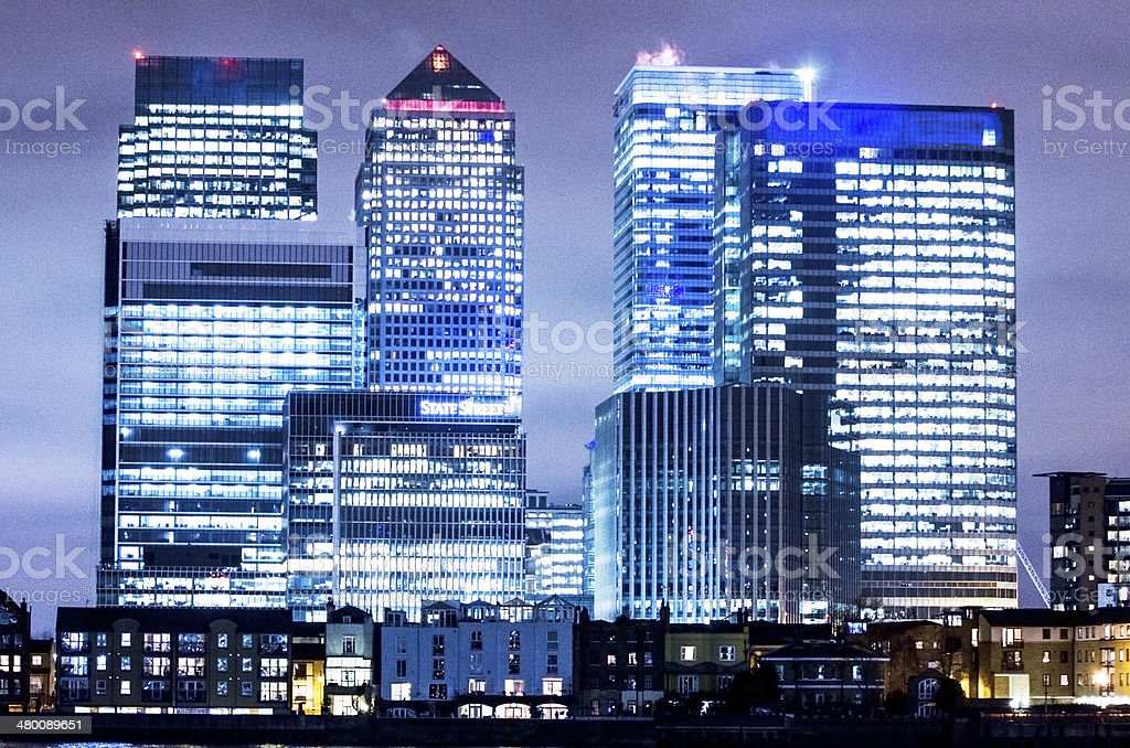 skyscrapers at night in Canary Wharf royalty-free stock photo