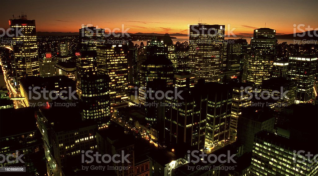 Skyscrapers at sunset royalty-free stock photo