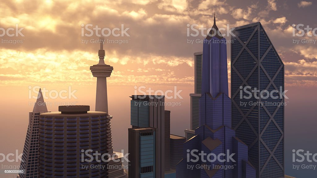 Skyscrapers at the sea vector art illustration