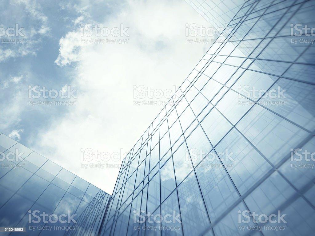 Skyscraper's blue glass wall stock photo