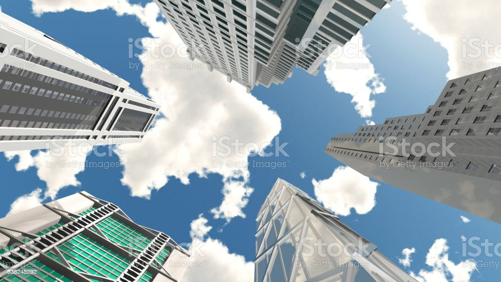 Skyscrapers, bottom view vector art illustration