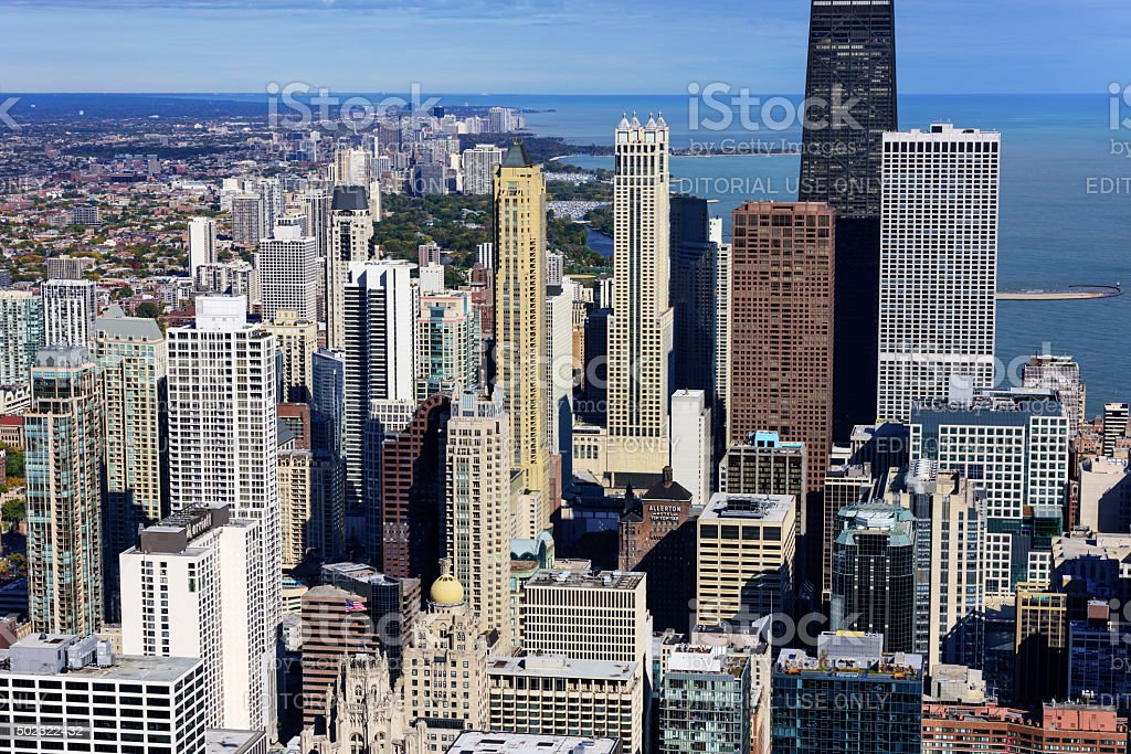 Skyscrapers by Lake Michigan, Streetrville, Chicago stock photo