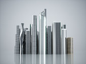 Skyscrapers city business center. 3d illustration