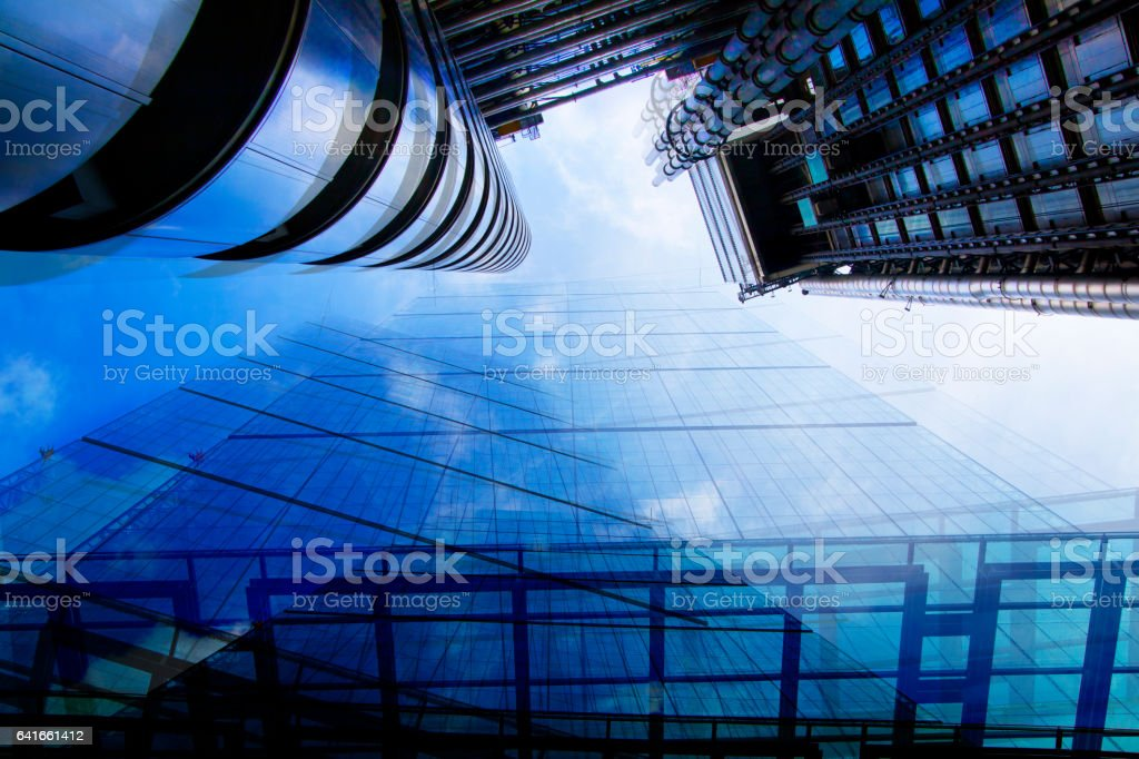 Skyscrapers, City of London. Multiple exposure stock photo