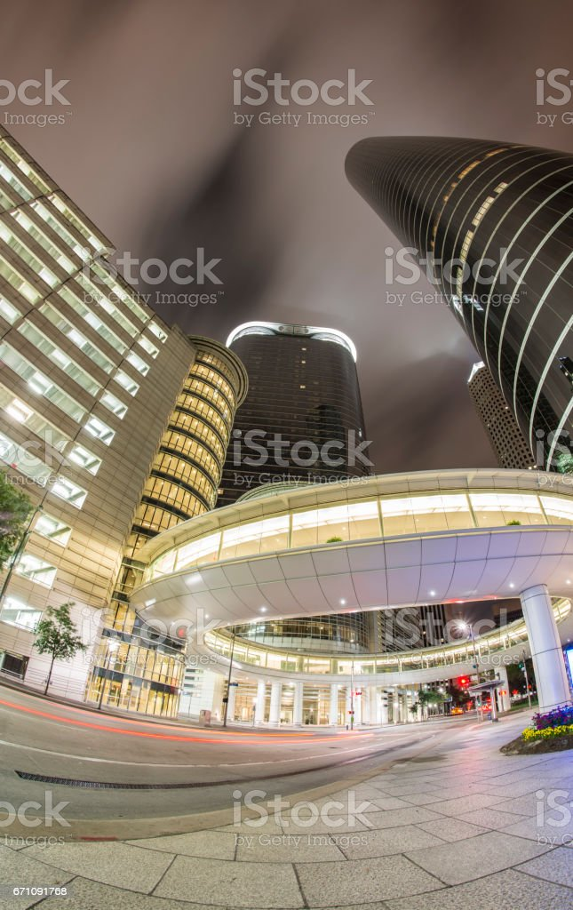 Skyscrapers Downtown Houston at night stock photo