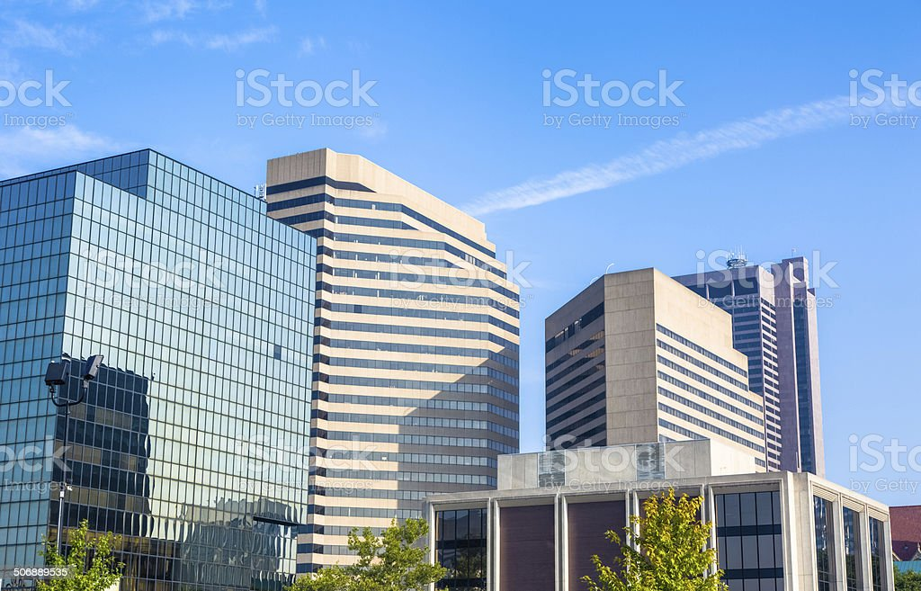 Skyscrapers Fill the Skyline Towering Over Trees in Columbus, Ohio stock photo