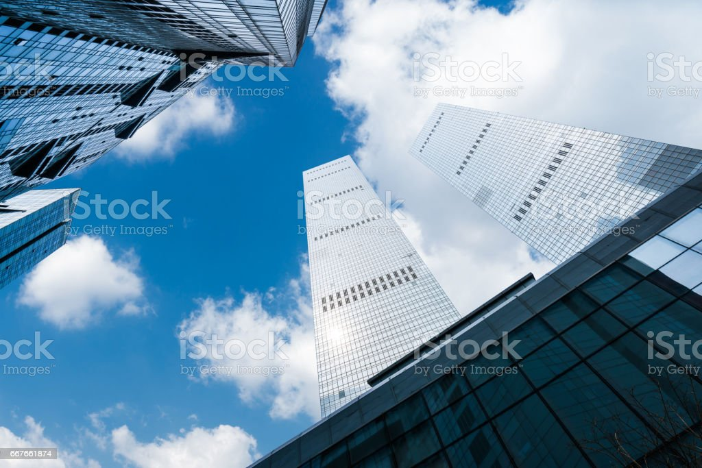 Skyscrapers from a low angle view in city of China.