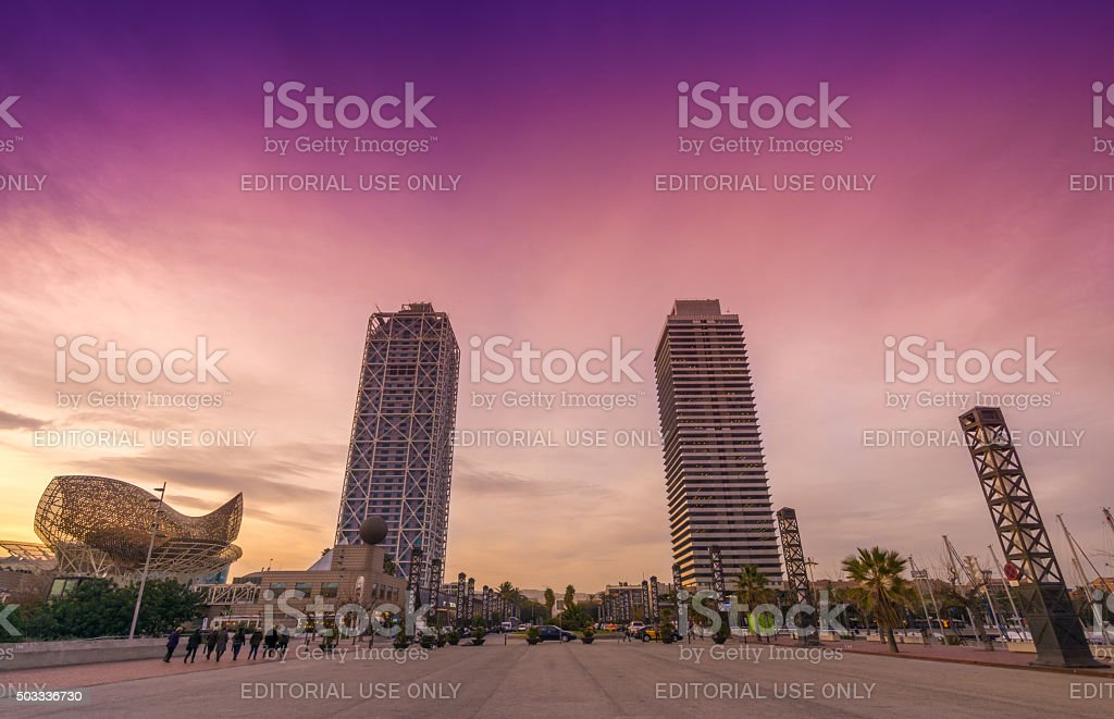 Skyscrapers from Barcelona - Hotel Arts and Torre Mapfre stock photo