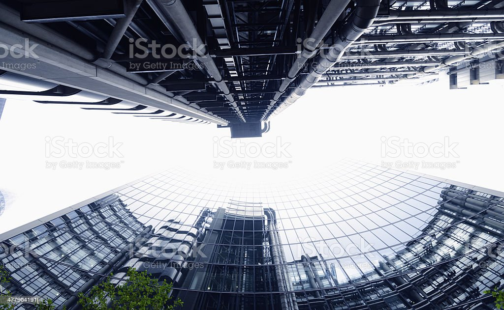Skyscrapers from below, Canary Wharf, London - England, London - England stock photo