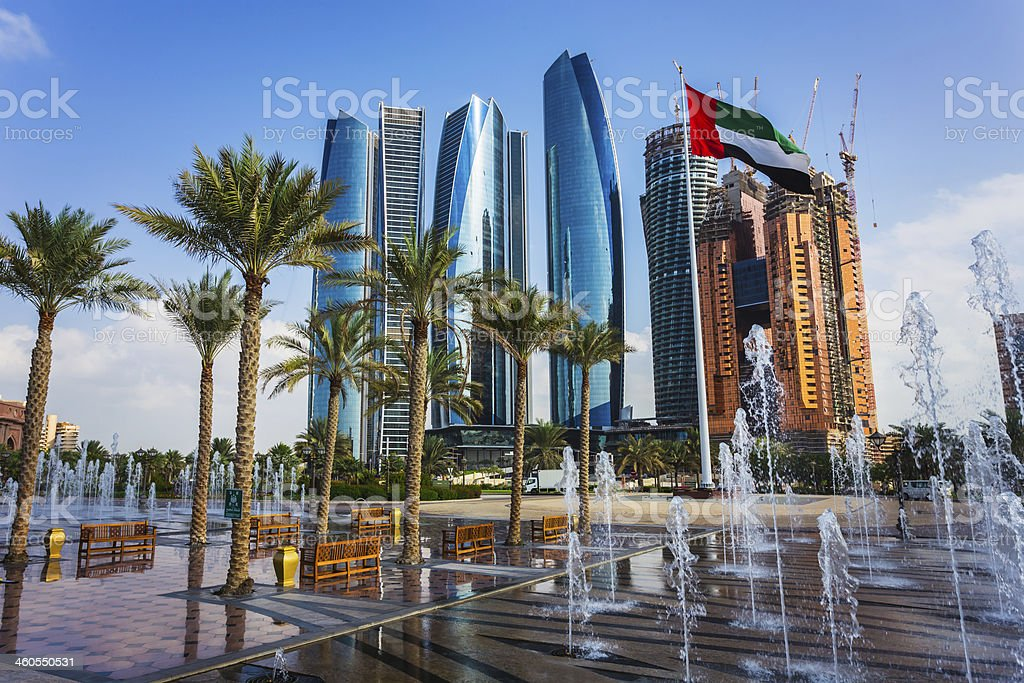Skyscrapers in Abu Dhabi, UAE stock photo