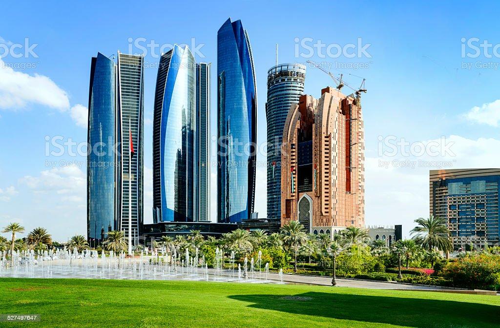 Skyscrapers in Abu Dhabi, United Arab Emirates stock photo