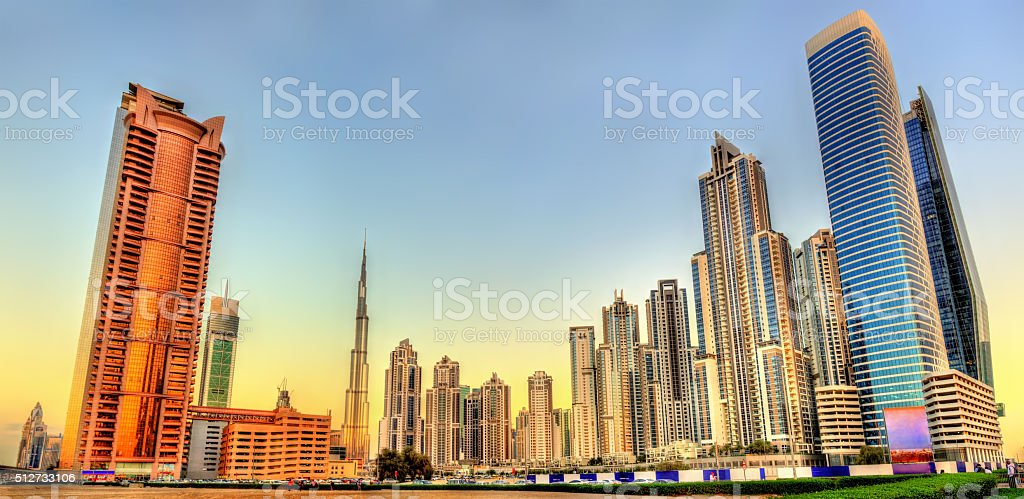 Skyscrapers in Business Bay district of Dubai, UAE stock photo