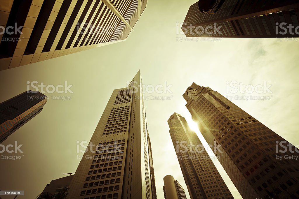 Skyscrapers in Business District of Singapore, Vinatge Style royalty-free stock photo