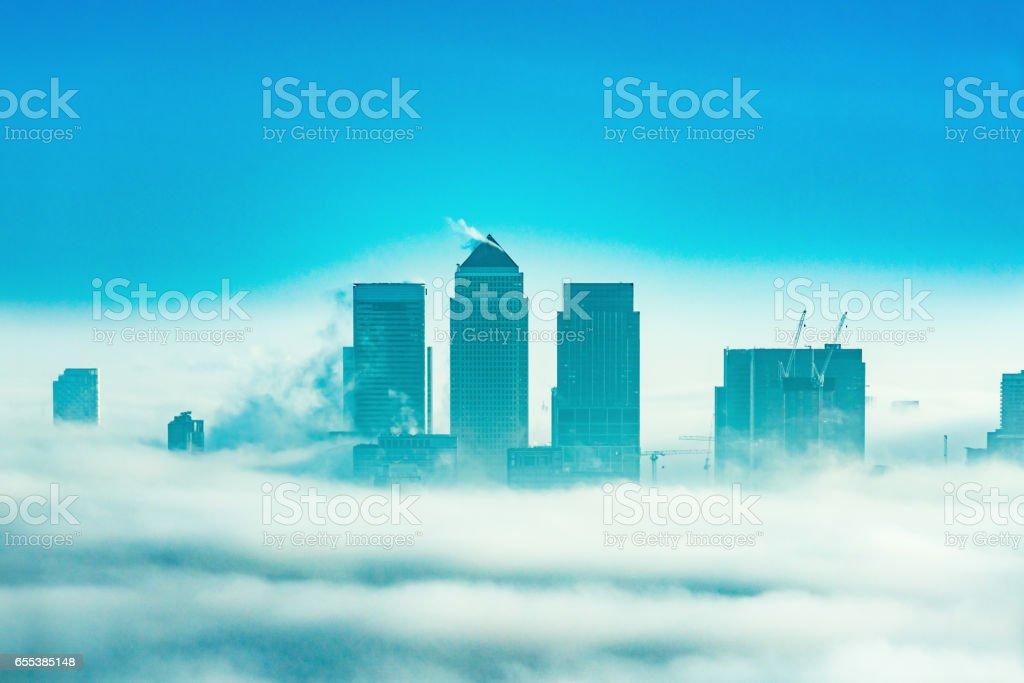 Skyscrapers in Canary Wharf, London, UK stock photo