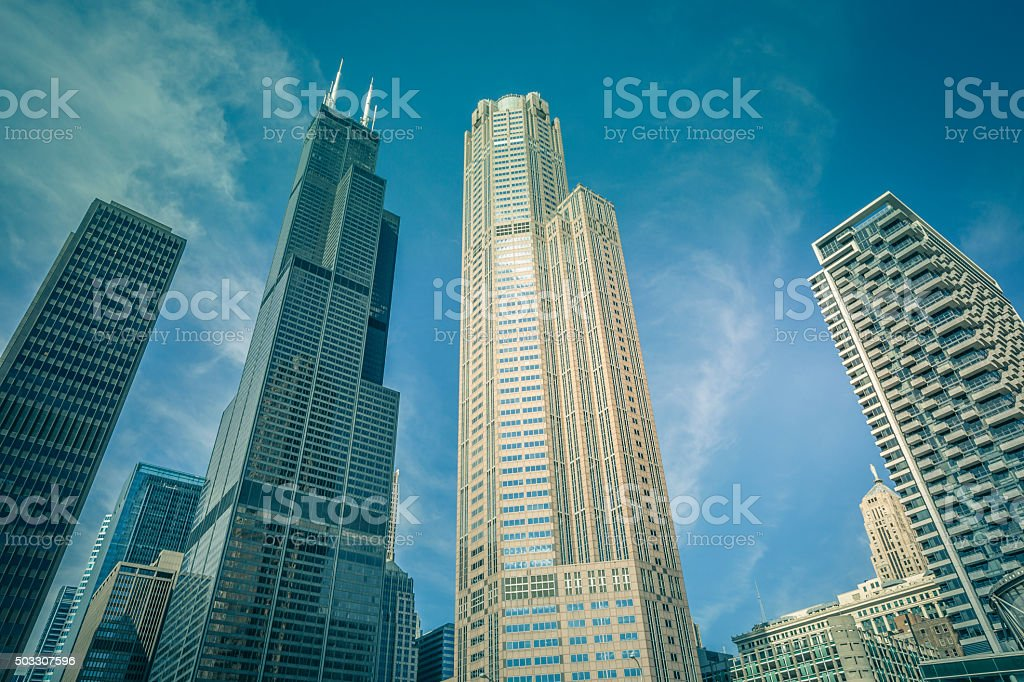 Skyscrapers in Chicago financial district, Illinois stock photo