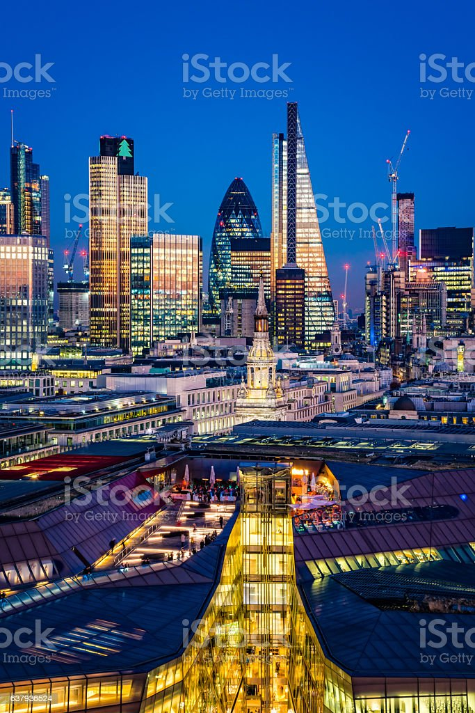 Skyscrapers in City of London at dusk stock photo